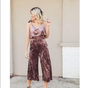 Hollywood Heights Crushed Velvet Jumpsuit